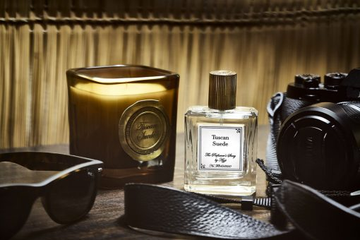 Tuscan Suede Eau De Parfum with matching candle